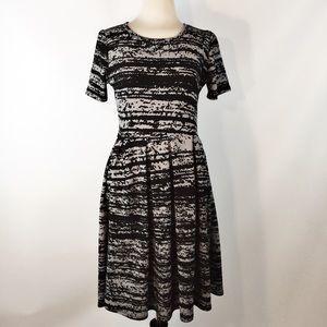 LuLaRoe Knit Black Gray Pleated Amelia DRESS M